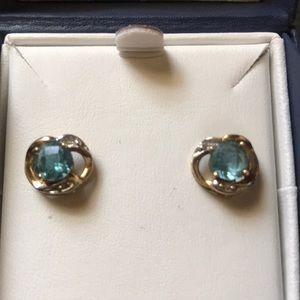 Earrings - gold w/topaz stone & faux diamonds